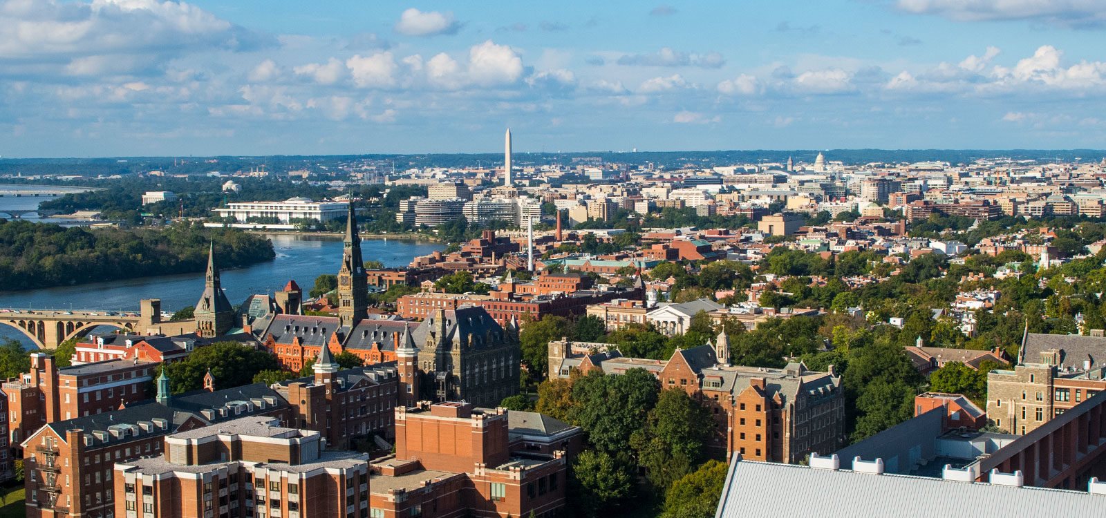 View of DC with Georgetown's campus in the foreground.